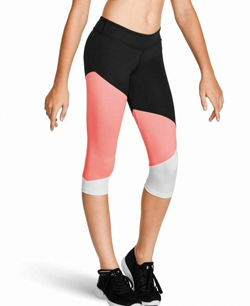 Bloch Girls Capri Crop Colour Panelled Leggings ideal for Dance Gym Fitness